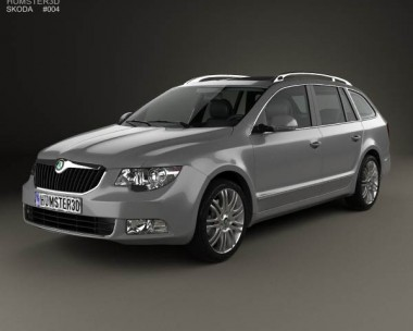 3D model of Skoda Superb (B6) Combi 2011