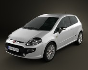 3D model of Fiat Punto Evo 3-door 2010