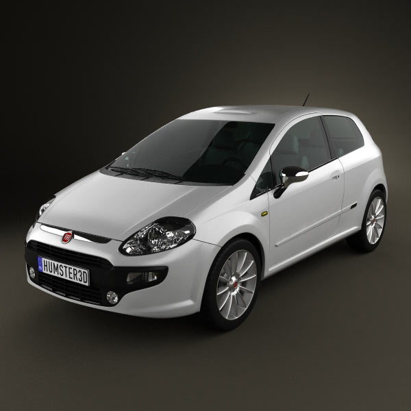 Fiat Punto Evo 3-door 2010 3d car model