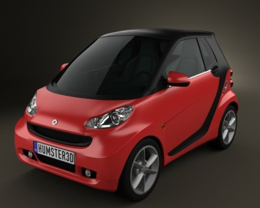 3D model of Smart Fortwo 2011 Convertible Hard Top