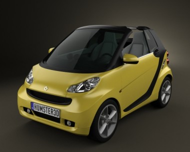 3D model of Smart Fortwo 2011 Convertible Open Top