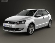3D model of Volkswagen Polo 5-door 2010