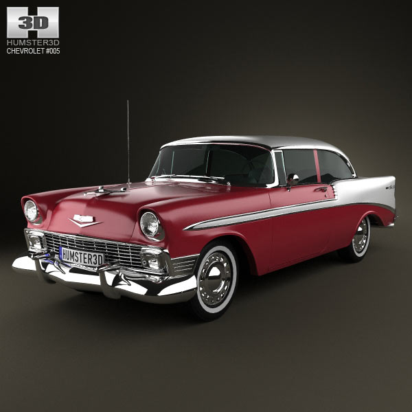 Chevrolet BelAir 2-door hardtop 1956 3d car model