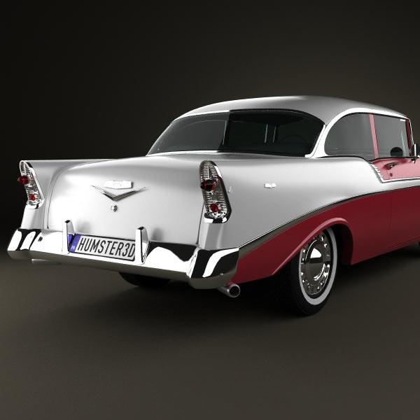 Chevrolet bel air 2 door hardtop 1956 3d model humster3d for 1956 chevy belair 2 door hardtop