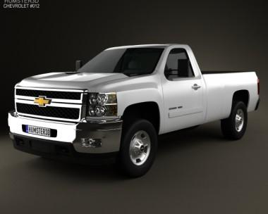 3D model of Chevrolet Silverado HD Regular Cab Long Bed 2011