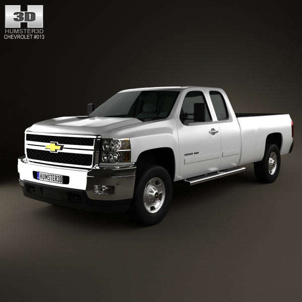 Chevrolet Silverado HD Extended Cab Long Bed 2011 3d car model