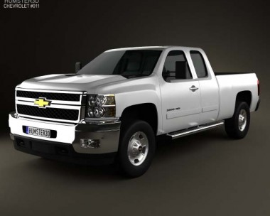3D model of Chevrolet Silverado HD Extended Cab Standard Bed 2011