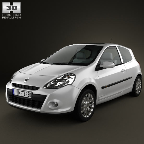 Renault Clio 3-door 2010 3d car model