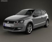 3D model of Volkswagen Polo 3-door 2010