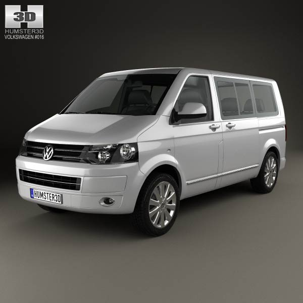 Volkswagen Transporter T5 Caravelle Multivan 2011 3d car model