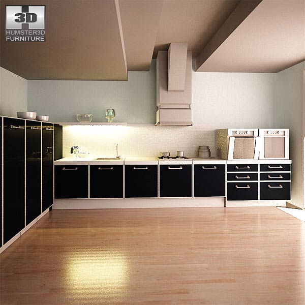 Kitchen set i2 3d model humster3d for Model kitchen