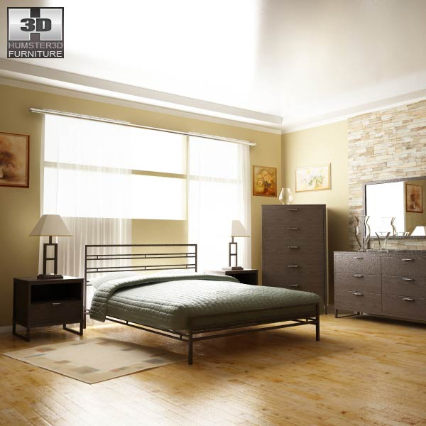 Ashley Sonya Metal Bedroom SET 3d model