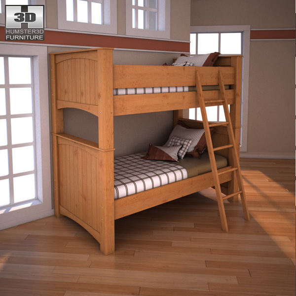 Ashley Stages Twin Bunk Bed 3D model Humster3D