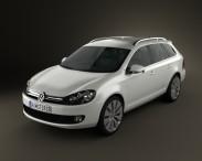 3D model of VolksWagen Golf Variant 2010