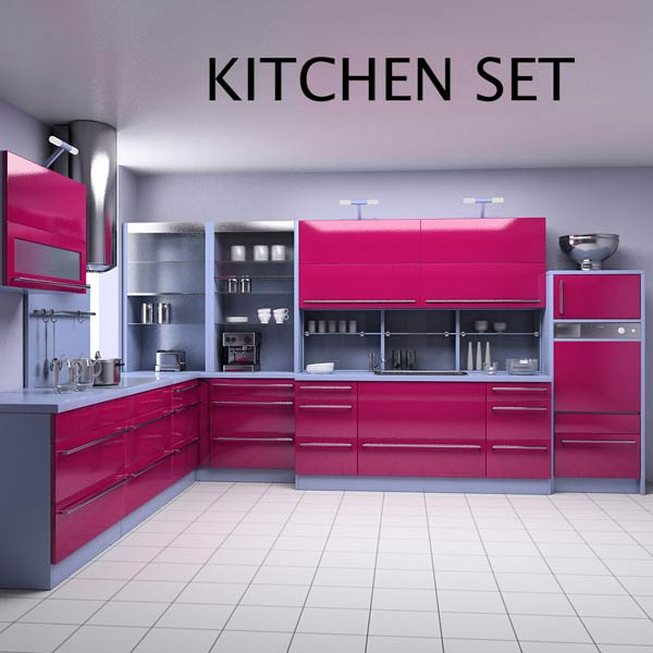 Kitchen set p2 3d model humster3d for Model kitchen