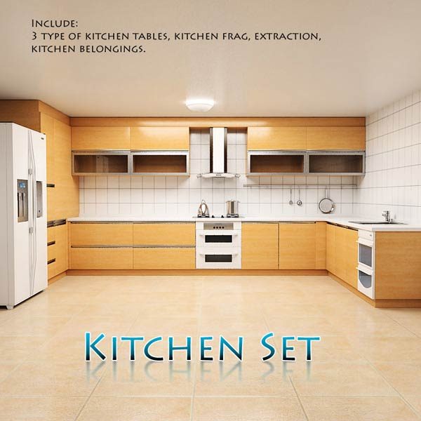Kitchen set p1 3d model humster3d for Model kitchen set