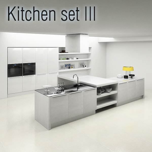 Kitchen set p3 3d model humster3d for Model kitchen