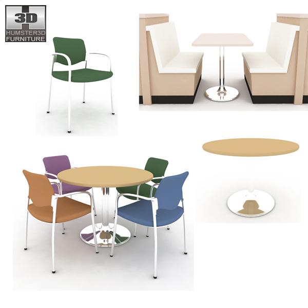 Dining room 04 set a fast food restaurant furniture 3d for Dining room 3d model