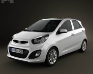 3D model of Kia Picanto 2012 with HQ Interior