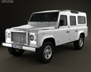3D model of Land Rover Defender 110 Station Wagon 2011