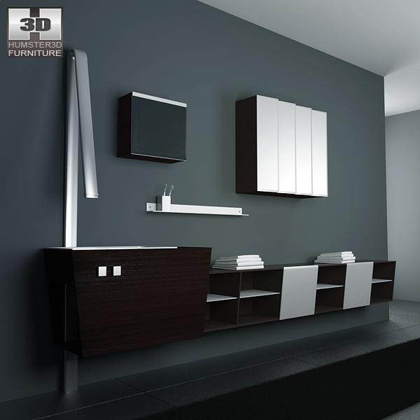 Bathroom furniture 05 set 3d model humster3d for Bathroom models images