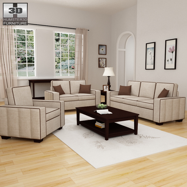 Living room furniture 07 set 3d model humster3d for Affordable furniture greenwood in