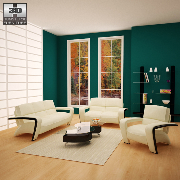 Living room furniture 08 set 3d model humster3d for Living room 3d model