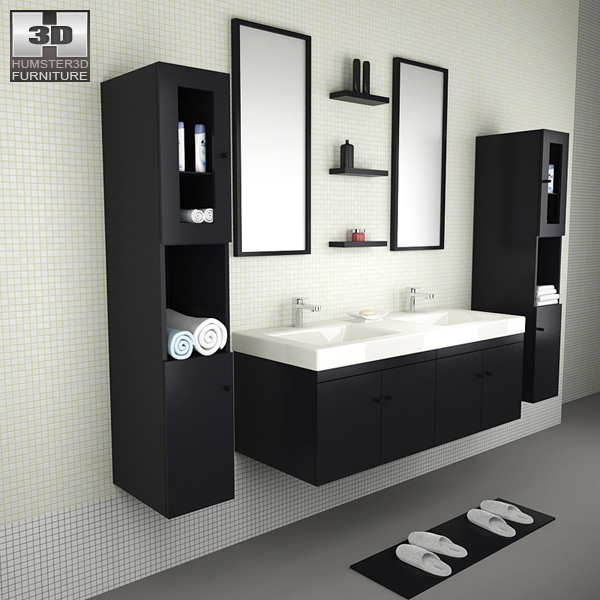 Bathroom furniture 08 set 3d model humster3d for Bathroom models images