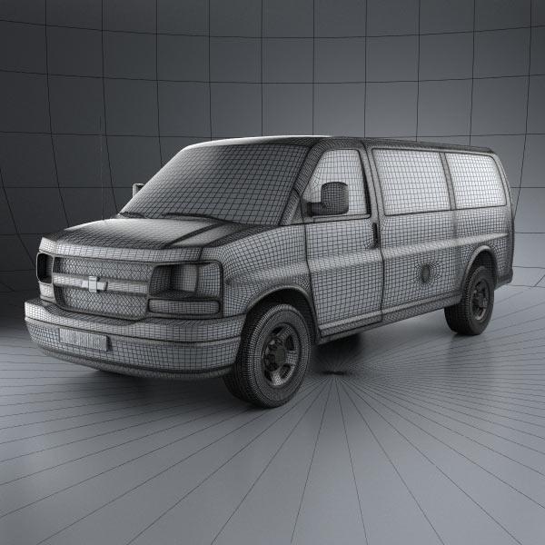 chevrolet express panel van 2003 3d model humster3d. Black Bedroom Furniture Sets. Home Design Ideas