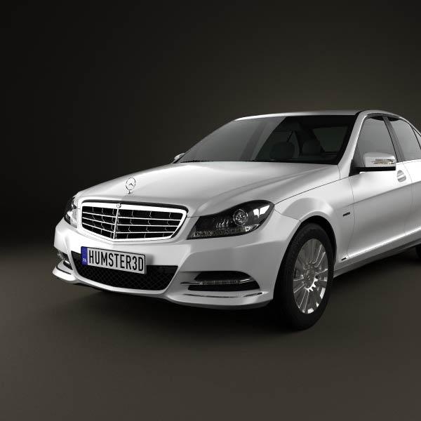 Mercedes benz c class sedan 2012 3d model humster3d for Mercedes benz 2012 models