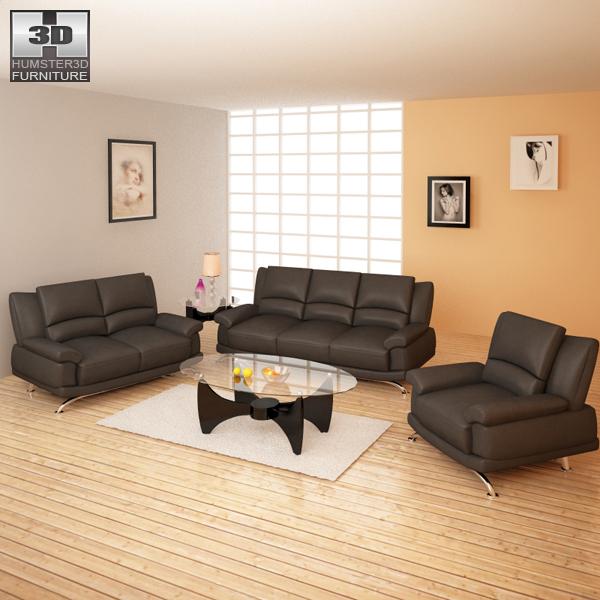 living room furniture 09 set 3d model humster3d. Black Bedroom Furniture Sets. Home Design Ideas