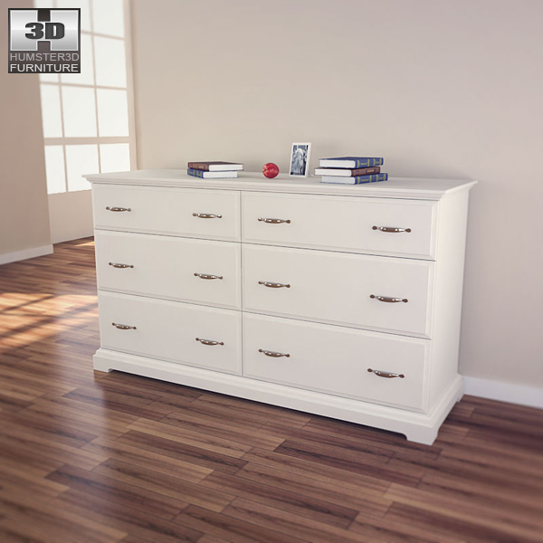 IKEA BIRKELAND Chest of 6 Drawers 3d model