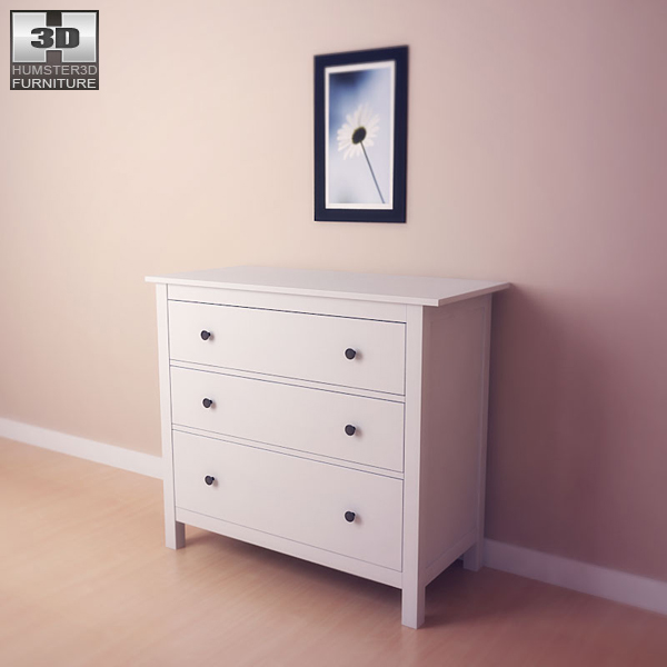 Ikea Hemnes Frisiertisch Mit Spiegel Weiß ~ IKEA HEMNES Chest of 3 Drawers 3D model  Humster3D