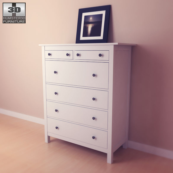 Ikea Hemnes Frisiertisch Mit Spiegel Weiß ~ IKEA HEMNES Chest of 6 Drawers 3D model  Humster3D