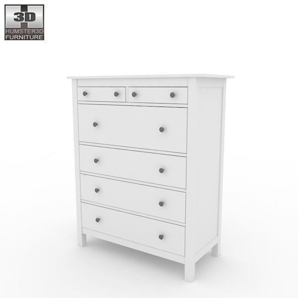 IKEA HEMNES Chest of 6 Drawers 3D model Humster3D