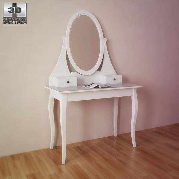 Ikea hemnes dressing table with mirror 3d model humster3d for Ikea dressing table hemnes