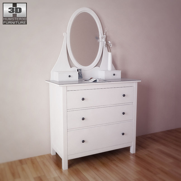Ikea Hemnes Chest With Mirror 3d Model Humster3d