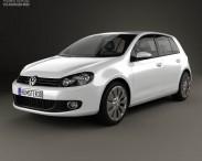 3D model of Volkswagen Golf 5-door 2009