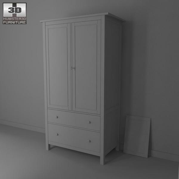 ikea hemnes wardrobe 3d model humster3d. Black Bedroom Furniture Sets. Home Design Ideas