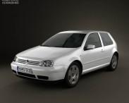 3D model of Volkswagen Golf IV 3-door 1997