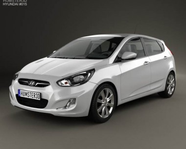 3D model of Hyundai Accent (i25) Hatchback 2012
