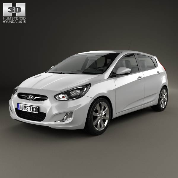 Hyundai Accent (i25) Hatchback 2012 3d car model