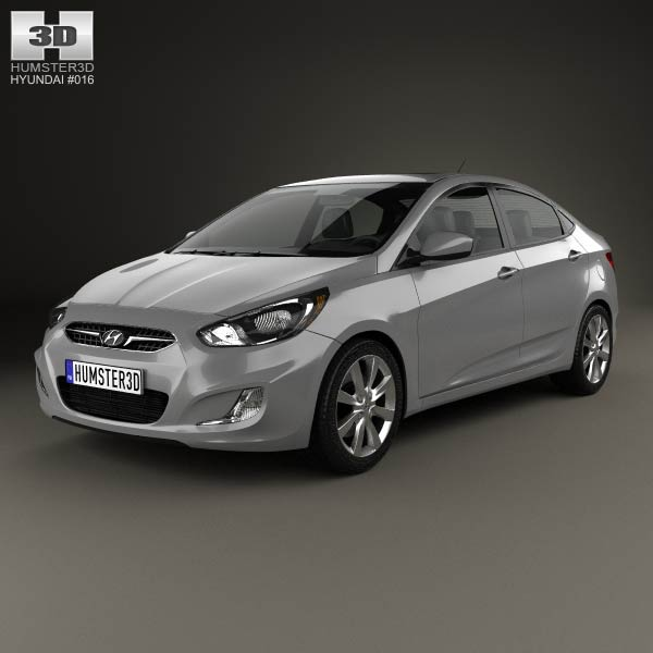 Hyundai Accent (i25) Sedan 2012 3d car model