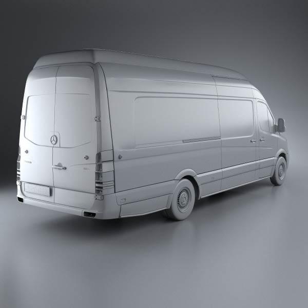 Mercedes benz sprinter panel van extralong 2011 3d model for Mercedes benz sprinter van accessories