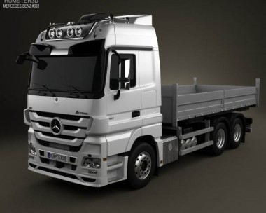 3D model of Mercedes-Benz Actros Flatbed 2011