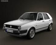 3D model of Volkswagen Golf Mk2 5-door 1983