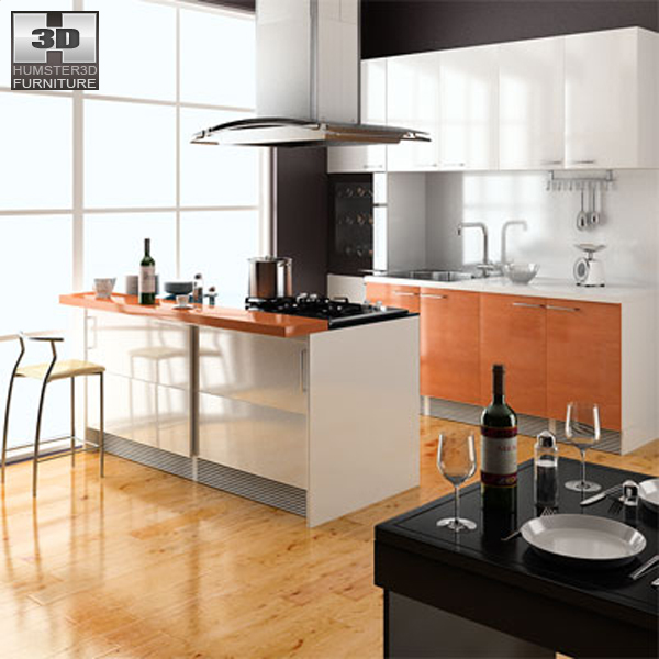 Model Kitcen : Full Kitchen Set 3d Model Picture Ideas With Kitchen Caper Also Image ...