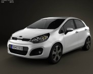3D model of Kia Rio hatchback 5-door with HQ Interior 2011