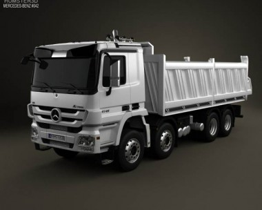 3D model of Mercedes-Benz Actros Tipper 4-axle 2011