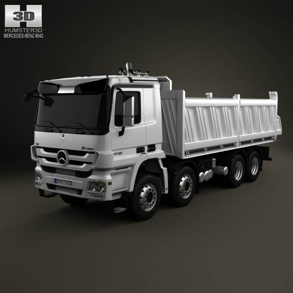 Mercedes-Benz Actros Tipper 4-axle 2011 3d car model